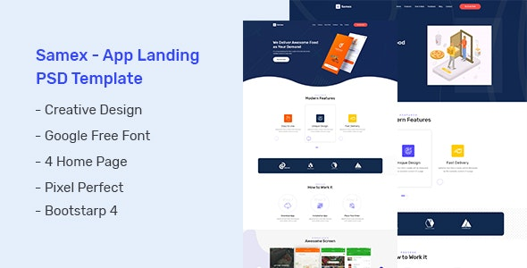 Samex - App Landing PSD Template - Business Corporate