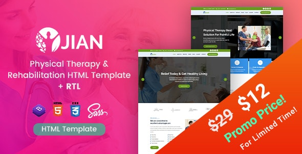 Jian - Physical Therapy & Rehabilitation HTML Template - Health & Beauty Retail