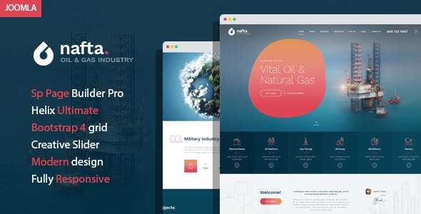 Nafta - Oil & Gas Industry Joomla Template with Page Builder