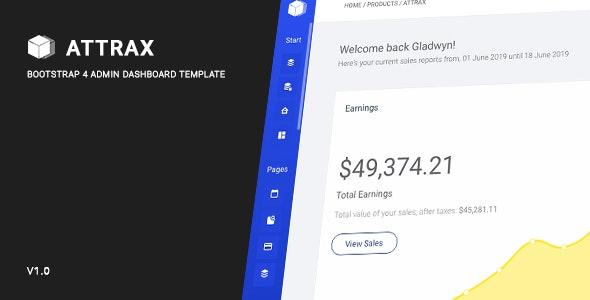 Attrax - Bootstrap 4 Admin Dashboard Template - Site Templates