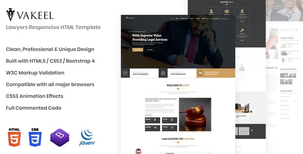 Vakeel - Lawyer HTML Template - Business Corporate