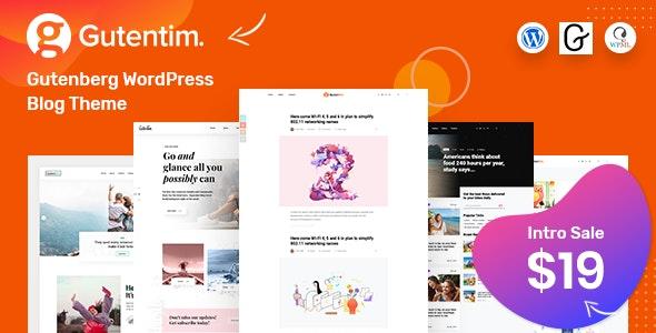 Gutentim - Modern Gutenberg WordPress Blog Theme - Personal Blog / Magazine