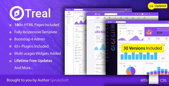 Treal - Admin Responsive Bootstrap HTML Dashboard Template - Admin Templates Site Templates
