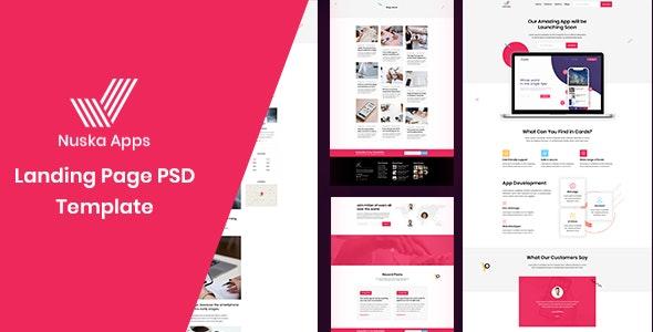 Nuska-Apps landing page PSD template - Software Technology