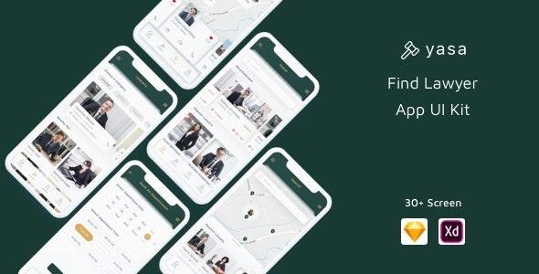 Yasa - Find Lawyer App UI Kit - Sketch Templates