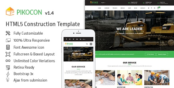 Pikocon - Construction Building Company HTML5 Template - Business Corporate