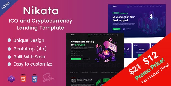 Nikata - ICO and Cryptocurrency Landing HTML Template by EnvyTheme