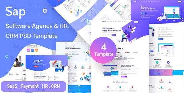 Sap - Software Agency & HR  Solution PSD Template - Creative Photoshop