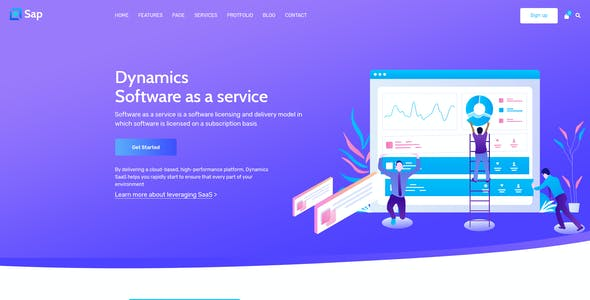 Sap - Software Agency & HR  Solution PSD Template