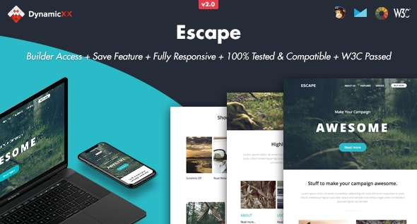 Escape - Responsive Email + Online Builder - Email Templates Marketing