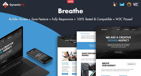 Breathe - Responsive Email + Online Builder - Email Templates Marketing
