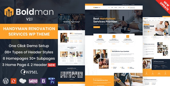 Boldman - Handyman Renovation Services WordPress Theme - Business Corporate