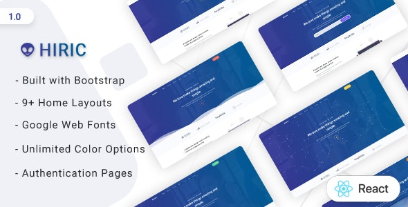 Hiric - React Landing Page Template - Corporate Site Templates