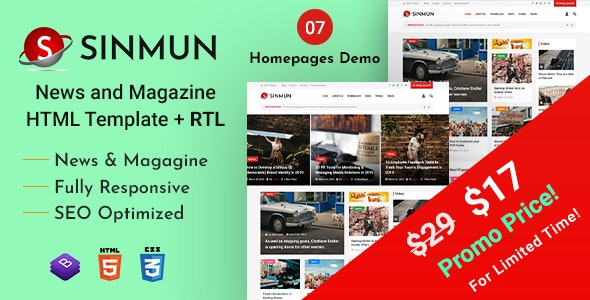 Sinmun - News and Magazine HTML Template - Entertainment Site Templates