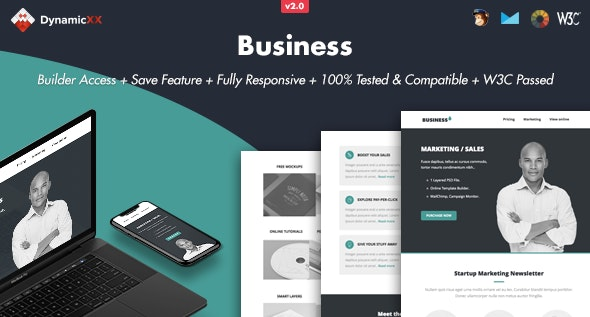 Business - Responsive Email + Online Builder - Newsletters Email Templates