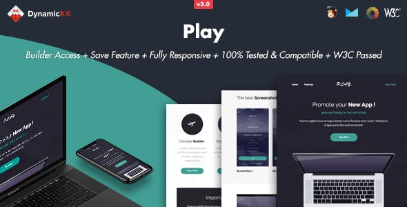 Play - Responsive Email + Online Template Builder