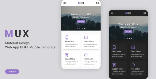 Mux Material Design Web App Ui Kit Mobile Template By Astylers Themeforest