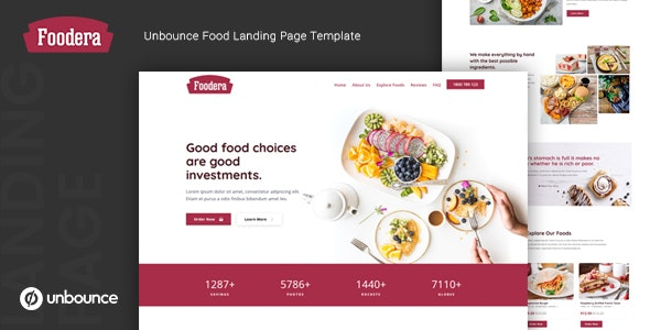 Foodera — Unbounce Food Landing Page Template - Unbounce Landing Pages Marketing