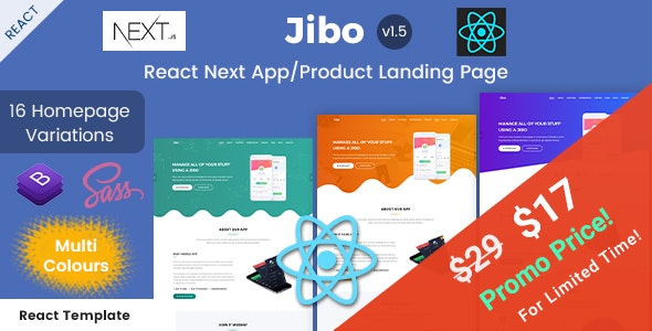 Jibo - React Next App/Product Landing Page Templates - Software Technology
