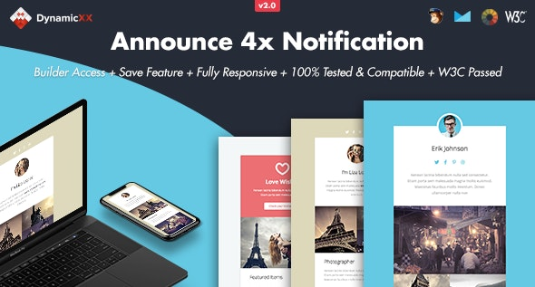 Announce - 4x Responsive Email + Online Builder - Email Templates Marketing