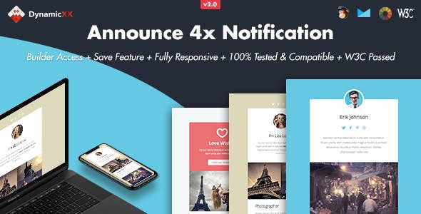 Announce - 4x Responsive Email + Online Builder