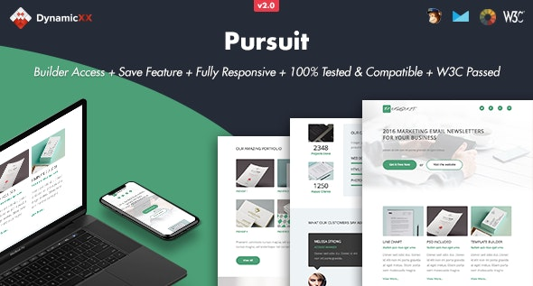 Pursuit - Responsive Email + Online Template Builder - Email Templates Marketing