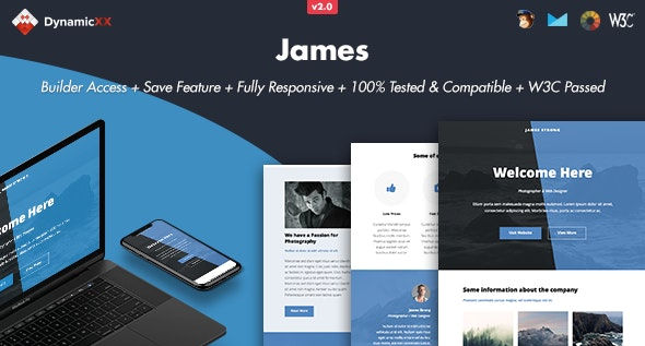 James - Responsive Email + Online Template Builder - Email Templates Marketing