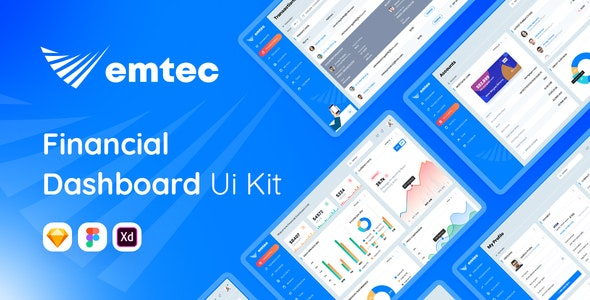 Emtec - Financial Dashboard Ui Kit Sketch Template - Sketch Templates