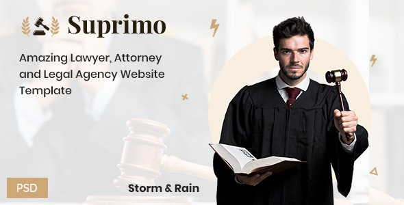 Suprimo | Lawyer Attorney Website Psd Template - Business Corporate