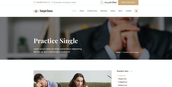 Suprimo | Lawyer Attorney Website Psd Template