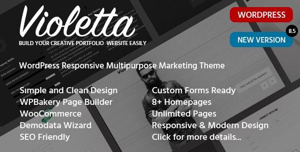 Responsive Personal CV Portfolio WordPress Theme - Violetta - Portfolio Creative