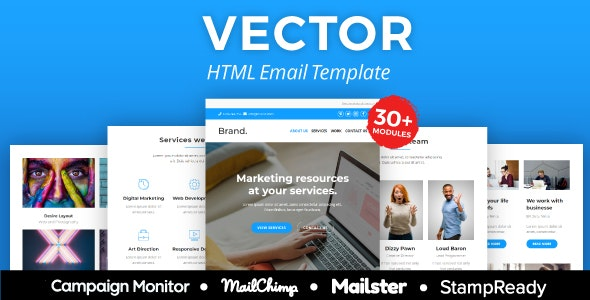Vector - Agency Responsive Email Template 30+ Modules - StampReady + Mailster & Mailchimp Editor - Newsletters Email Templates