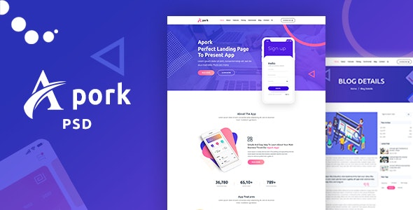 Apork - Product Landing PSD Template - Technology Photoshop