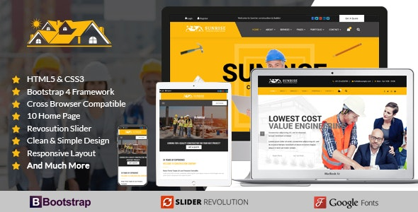 Sunrise Construction Builder Company Responsive Html