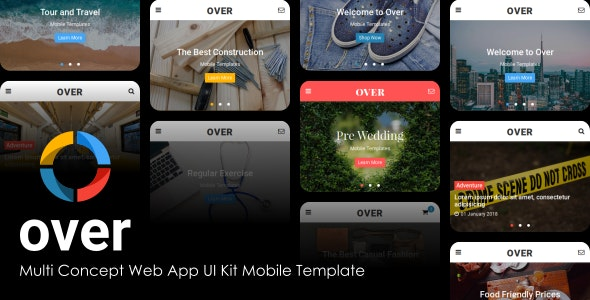 Over - Multi-Concept Web App UI Kit Mobile Template - Mobile Site Templates