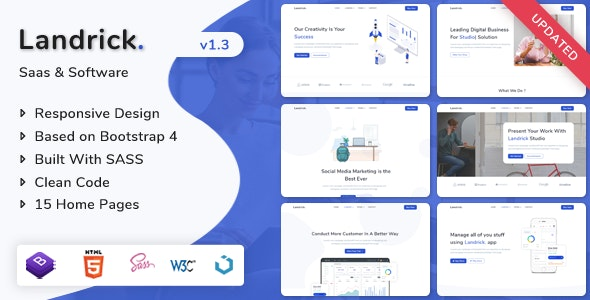 Landrick - Saas & Software Landing Page Template - Technology Site Templates