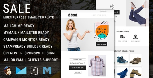 Sale - Multipurpose Responsive Email Template with Mailchimp Editor Access - Newsletters Email Templates