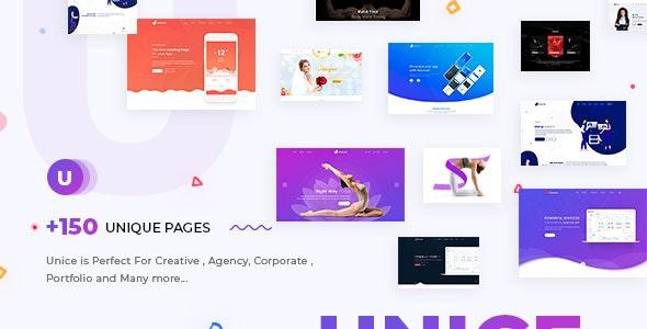 Unice - Creative Portfolio , Saas , App Landing & Agency Multipurpose Template - Portfolio Creative