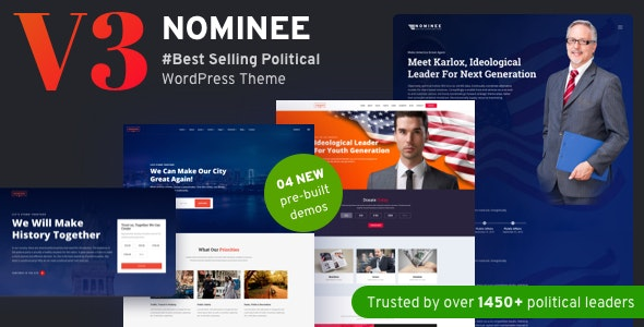Nominee - Political WordPress Theme for Candidate/Political Leader - Political Nonprofit