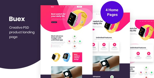 Buex- Product Landing Page PSD template - Business Corporate
