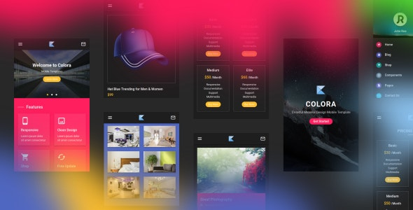 Colora - Colorful Material Design Mobile Template - Mobile Site Templates