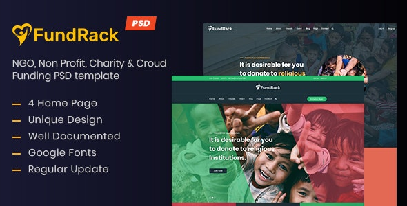 FundRack - Charity PSD Template - Charity Nonprofit