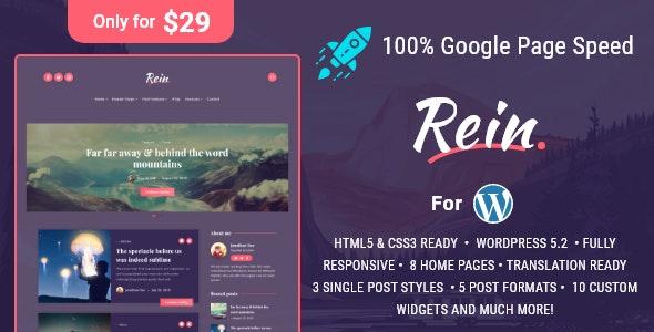 Rein - Minimal Lightweight Dark Theme for WordPress - Personal Blog / Magazine