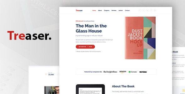 Treaser - Author Book landing Template by DreamBuzz