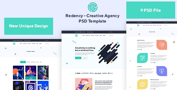 Redency - Creative Agency PSD Template - Creative Photoshop