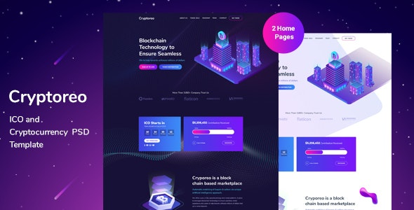 Cryptoreo - ICO and Crypocurrency PSD Template - Technology Photoshop
