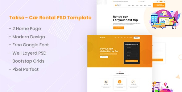 Takso - Car Rental PSD Template - Business Corporate