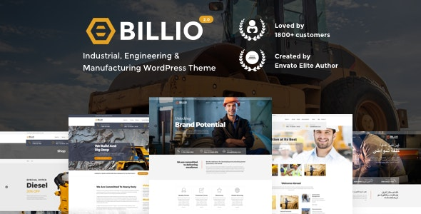 Billio 2.0 - Engineering & Industrial WordPress Theme - Business Corporate