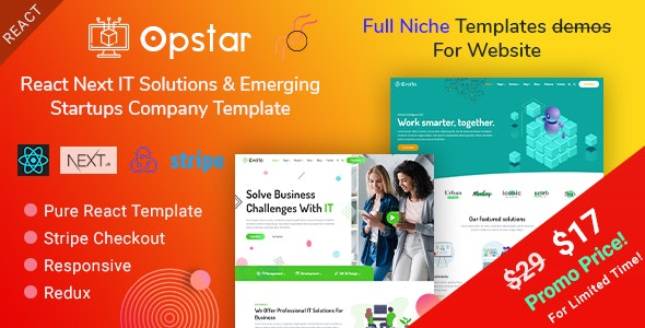 Opstar - React Next IT Solutions & Emerging Startups Company Template - Corporate Site Templates