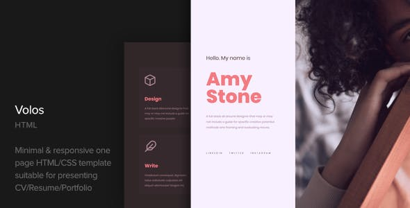 Volos - One Page Resume HTML Template